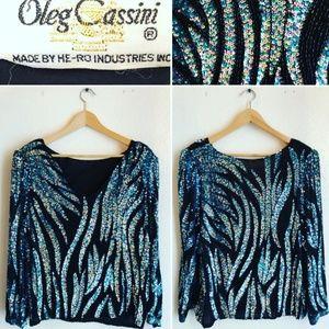 Vintage Oleg Cassini Sequins Blouse